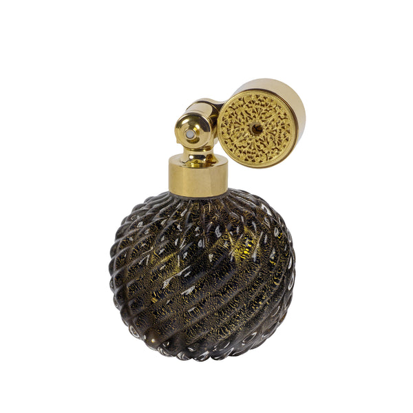GOLD PLATED ESCALE MOUNT, BLACK MURANO GLASS, INSERTED GOLD LEAF