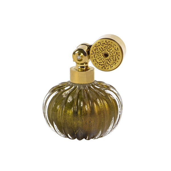 GOLD PLATED ESCALE MOUNT, BLACK MURANO GLASS, ONION SHAPE, INSERTED GOLD LEAF