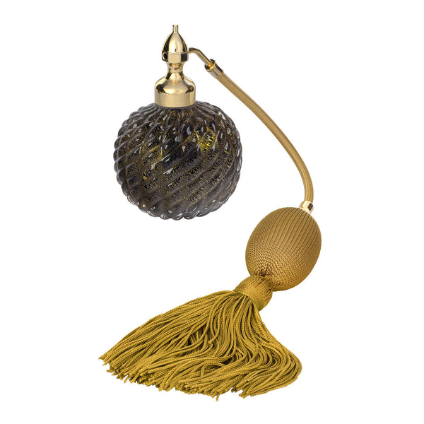 GOLD PLATED FIZZ BALL MOUNT, BLACK MURANO GLASS, INSERTED GOLD LEAF