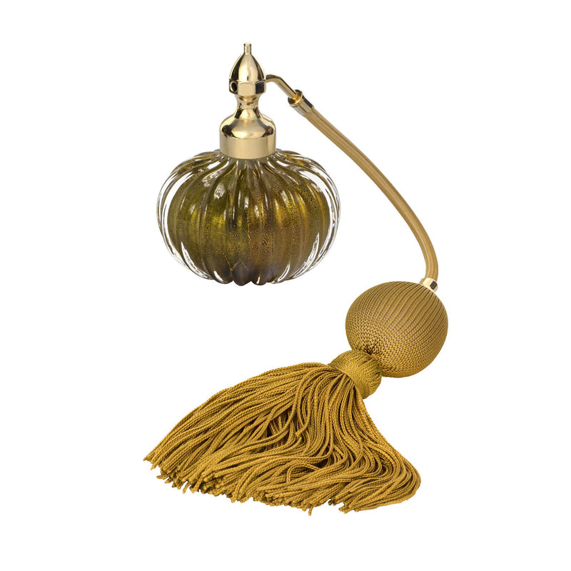 GOLD PLATED FIZZ BALL MOUNT, BLACK MURANO GLASS, ONION SHAPE, INSERTED GOLD LEAF