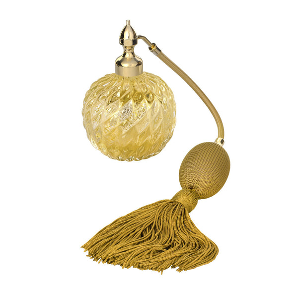 GOLD PLATED FIZZ BALL MOUNT, CLEAR MURANO GLASS, INSERTED GOLD LEAF