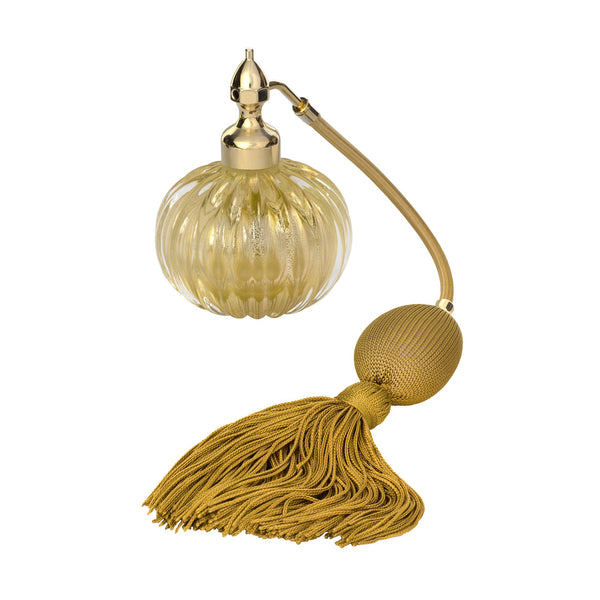 GOLD PLATED FIZZ BALL MOUNT, CLEAR MURANO GLASS, ONION SHAPE, GOLD LEAF