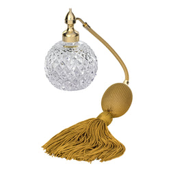 GOLD PLATED FIZZ BALL MOUNT, DIAMOND CUT CRYSTAL GLASS