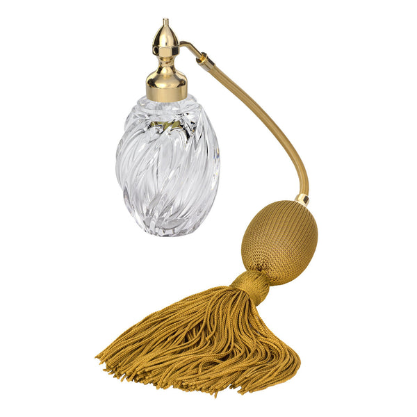 GOLD PLATED FIZZ BALL MOUNT, OVAL SHAPE WITH SPIRAL GROOVES CRYSTAL GLASS