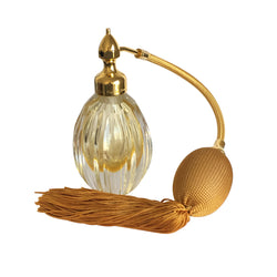 GOLD PLATED FIZZ BALL MOUNT, OVAL SHAPE WITH STRAIGHT GROOVES CRYSTAL GLASS