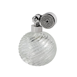 PALLADIUM PLATED ESCALE MOUNT, CLEAR MURANO GLASS, INSERTED SILVER LEAF