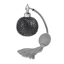 PALLADIUM PLATED FIZZ BALL MOUNT, BLACK MURANO GLASS, INSERTED SILVER LEAF