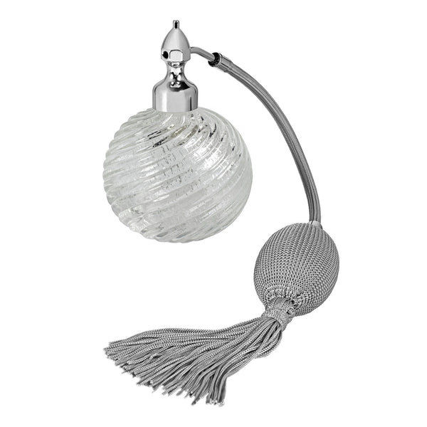 PALLADIUM PLATED FIZZ BALL MOUNT, CLEARMURANO GLASS, INSERTED SILVER LEAF