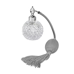PALLADIUM PLATED FIZZ BALL MOUNT, DIAMOND CUT CRYSTAL GLASS