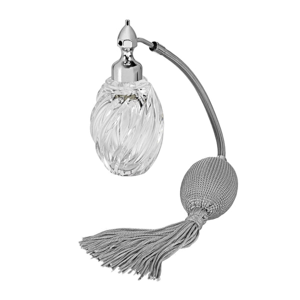 PALLADIUM PLATED FIZZ BALL MOUNT, OVAL SHAPE WITH SPIRAL GROOVES CRYSTAL GLASS