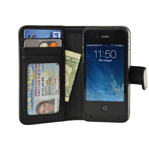 iPhone 4/4S Wallet Power Battery Case 2000 mAh - Navor