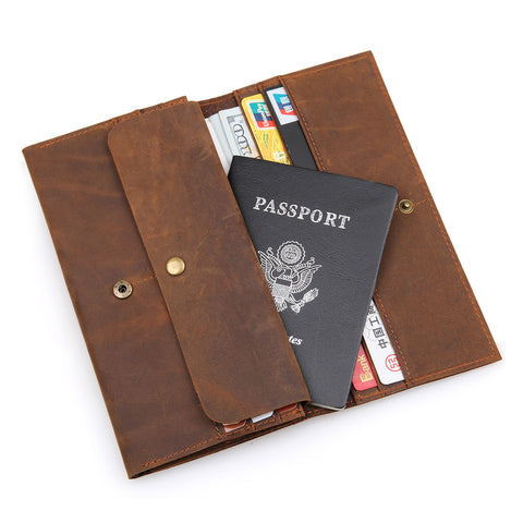 Men's Genuine Leather Long Slim Wallet With Card Slots And Passport Case