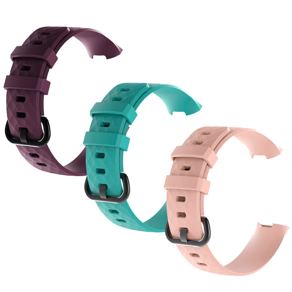 3Pcs  Water Resistant Soft TPU Silicone Replacement Strap Wristbands Bands - Darkpurple/Mint/Pink