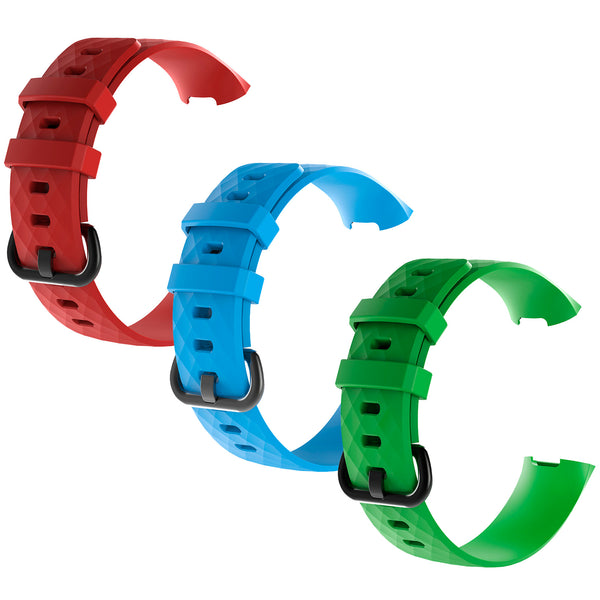 3Pcs Water Resistant Soft TPU Silicone Replacement Strap Wristbands Bands - Red/Blue/Green