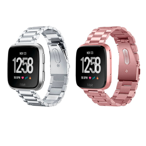 Solid Stainless Steel Replacement Band/Bracelet for Fitbit Versa Smartwatch - Silver/Rosegold