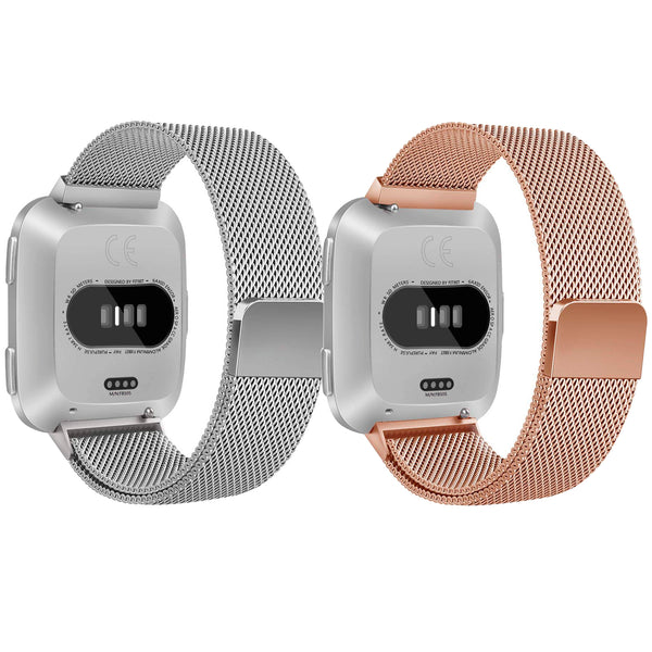 Small Stainless Steel Watch Band /Bracelet with Magnetic Closure for Fitbit Versa - Silver/Rose Gold