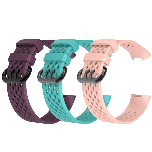 3Pcs Water Resistant Replacement Wristbands Bands for Fitbit Charge 3 - Darkpurple/Mint/Pink