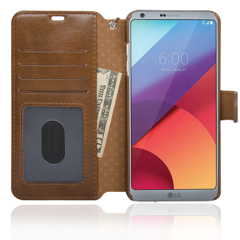 NAVOR Zevo LG G6 Wallet Case Slim Fit Light Premium Flip Cover with RFID Protection