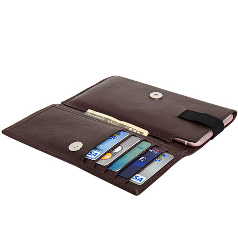 Navor Genuine Sheep Leather Men's Phone Cash Receipt Holder Wallet Case