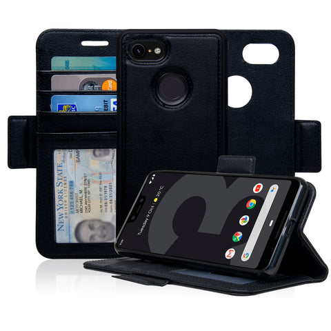 Navor Detachable Magnetic Wallet Case for Google Pixel 3XL [RFID Protection] [Logo Hole]
