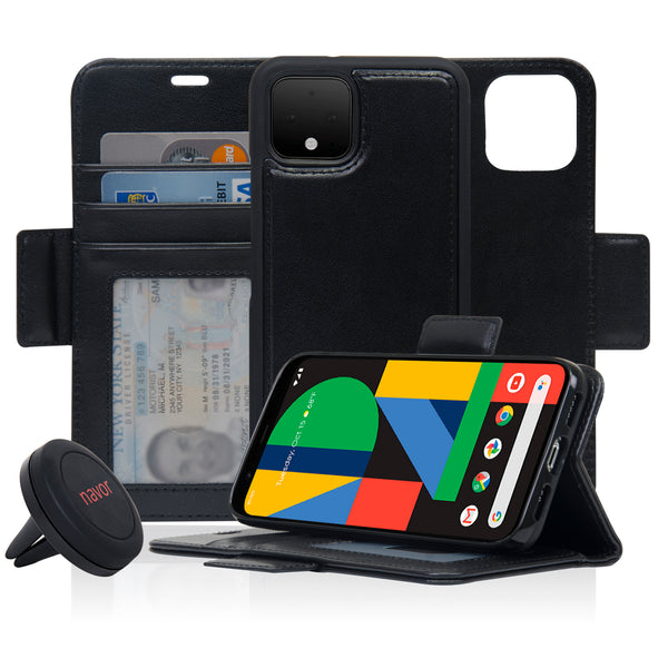 Navor Universal Car Mount & Detachable Magnetic Wallet Case Compatible with Google Pixel 4 [RFID Protection] [Logo Hole] [Vajio Series]