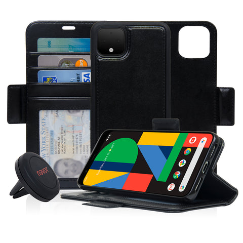 Navor Universal Car Mount & Detachable Magnetic Wallet Case Compatible with Google Pixel 4XL [RFID Protection] [Logo Hole] [Vajio Series]