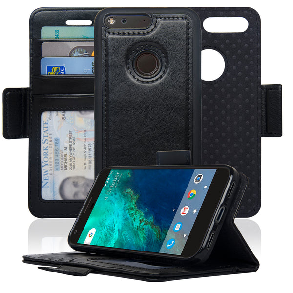 timeless design c01e5 2ac33 Navor Detachable Magnetic Wallet Case for Google Pixel [RFID Protection]  [Logo Hole] [Vajio Series]