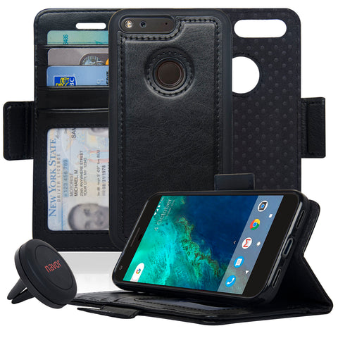 NAVOR Car Mount and Detachable Magnetic Wallet Case for Google Pixel [RFID Protection] [Logo Hole] [Vajio Series]