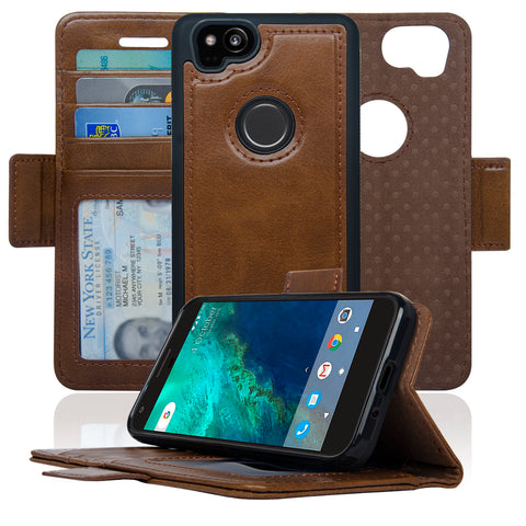 Navor Detachable Magnetic Wallet Case for Google Pixel 2 [RFID Protection] [Logo Hole] [Vajio Series]