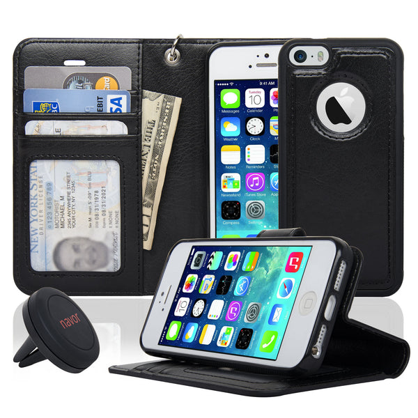 Navor Car Mount and iPhone 5 Detachable Magnetic Housing Wallet Case Cover for iPhone 5/5S