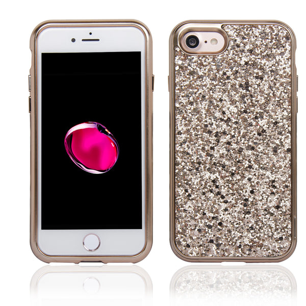 NAVOR Slim Fit Protective Bumper Shockproof Shiny Glitter Case for iPhone 7 & 8