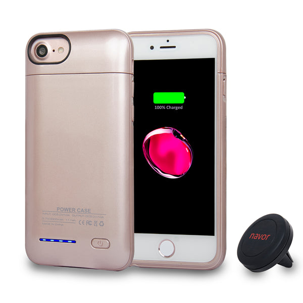 Navor Magnetic Extended Protective Battery Case 3000mAh for iPhone 6, 7, 8 & Car Holder