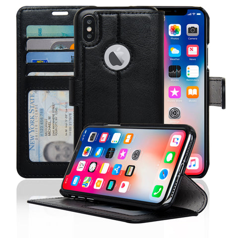 NAVOR Slim & Light Wallet Premium Case Protective Flip Cover for iPhone Xs / X