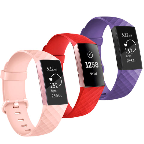 3 Pcs Soft TPU Silicone Replacement Sport Band Fitness Strap for Fitbit Charge 3 - Red/Pink/Lilac