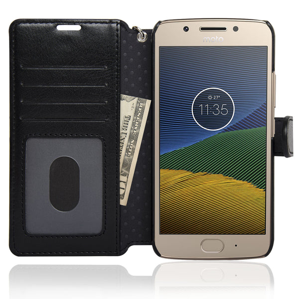 NAVOR Zevo Motorola Moto G5 Wallet Case Slim Fit Light Premium Flip Cover with RFID Protection