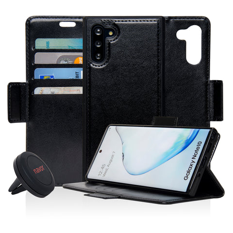 Navor Universal Car Mount & Detachable 2 in 1 Magnetic Wallet Case with RFID Protection Compatible for Samsung Galaxy Note 10 [6.3 inch] [Vajio Series]