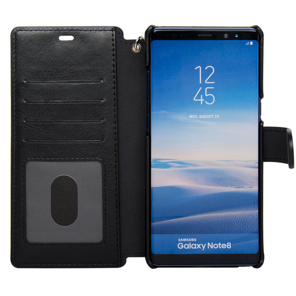 Navor Samsung Galaxy Note 8 Leather Protective Wallet Case [Folio Style] [RFID Theft Protection] [Card Slot + Side Pocket] Magnetic Closure-Black