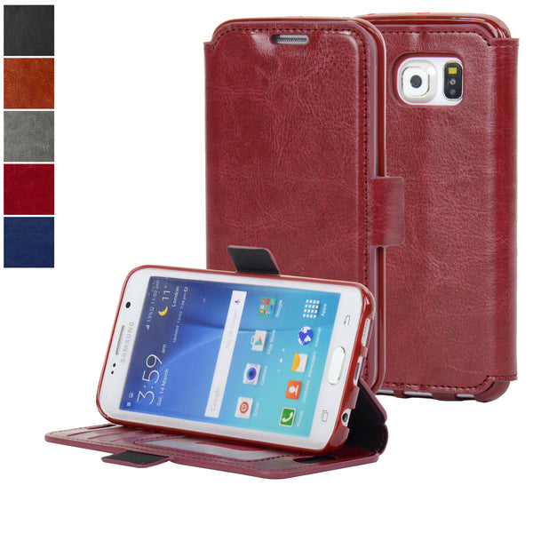 Navor Samsung Galaxy S6 Edge Ultra Slim Wallet Case - Maroon