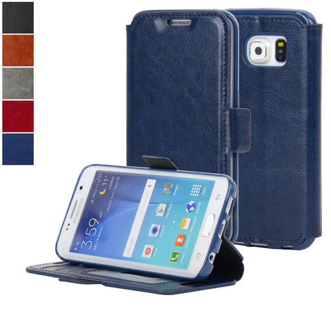 Navor Samsung Galaxy S6 Edge Ultra Slim Wallet Case - Navy Blue