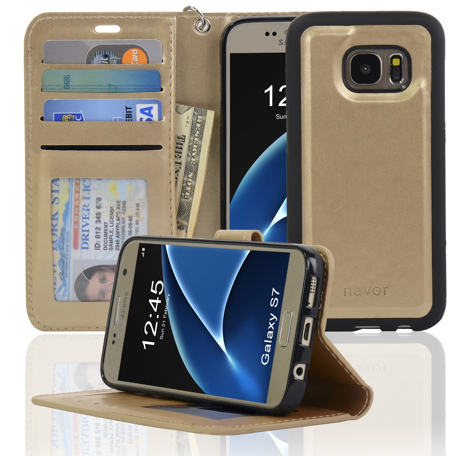 big sale 532b8 f747e Navor JOOT1 Series Samsung S7 Wallet Case with Magnetic Detachable Cover