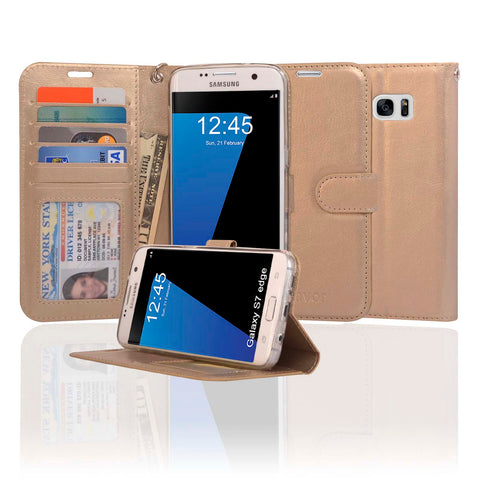 Navor Protective Flip Wallet Case for Samsung Galaxy S7 Edge - Gold