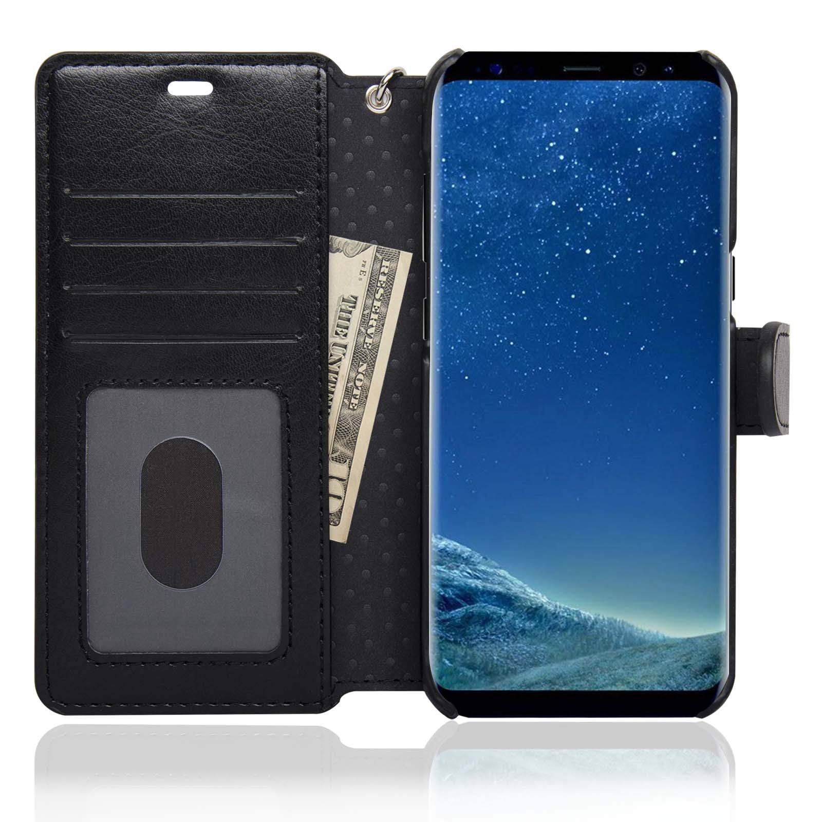 low priced 36962 77804 NAVOR Zevo Samsung Galaxy S8 Wallet Case Slim Fit Light Premium Flip Cover  with RFID Protection