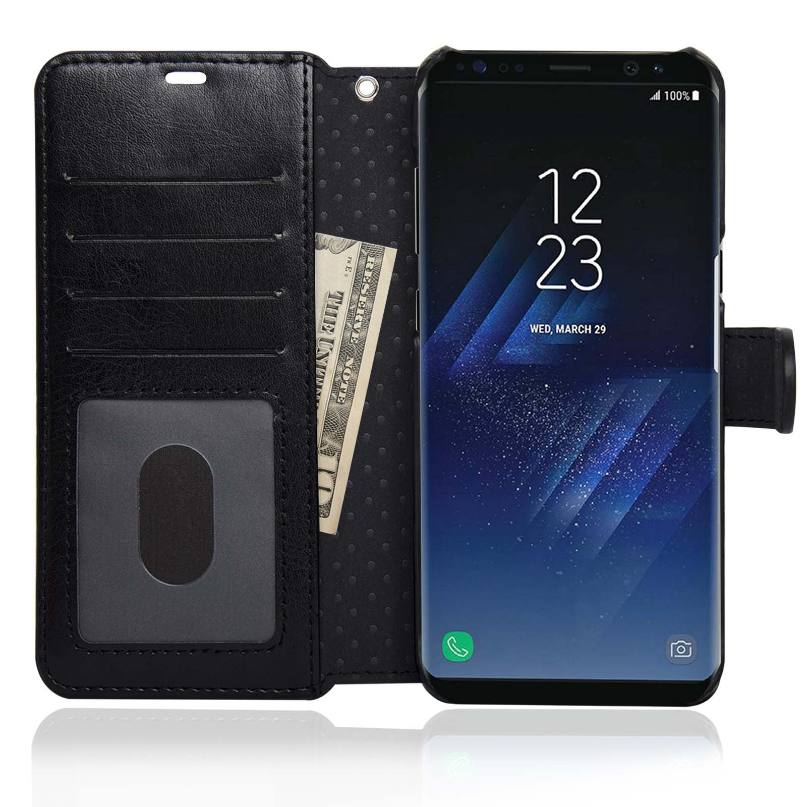 new styles 734f6 19790 NAVOR Zevo Samsung Galaxy S8 Plus Wallet Case Slim Fit Light Premium Flip  Cover with RFID Protection