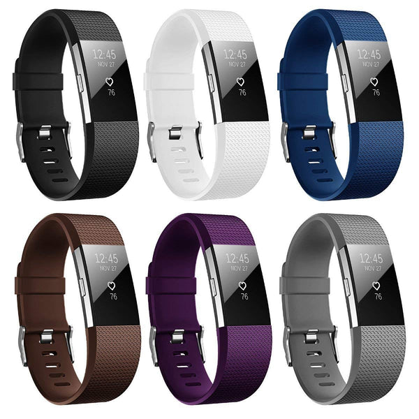6Pks Soft TPU Silicone Replacement Sport Band Fitness Strap Compatible for Fitbit Charge2