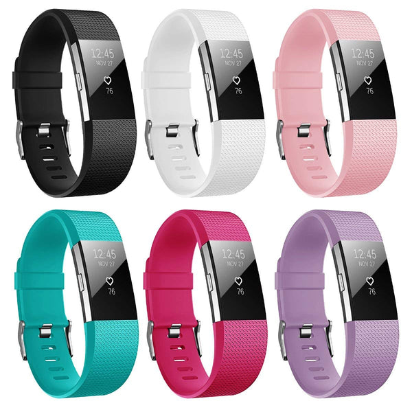 6 PKS Soft TPU Silicone Replacement Sport Band Fitness Strap Compatible for Fitbit Charge 2