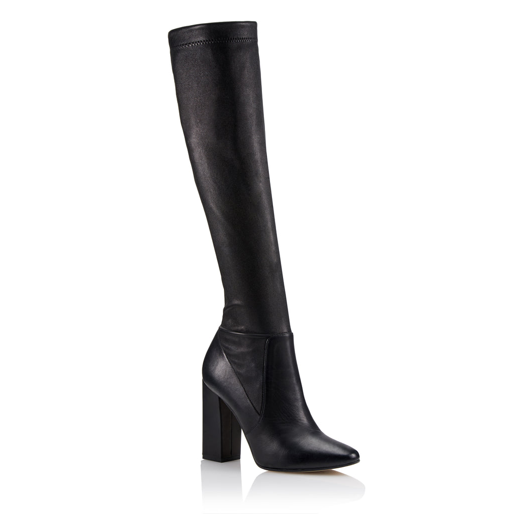 Tamara Mellon Helmut Black Stretch Nappa Knee High Boots, Size – 35