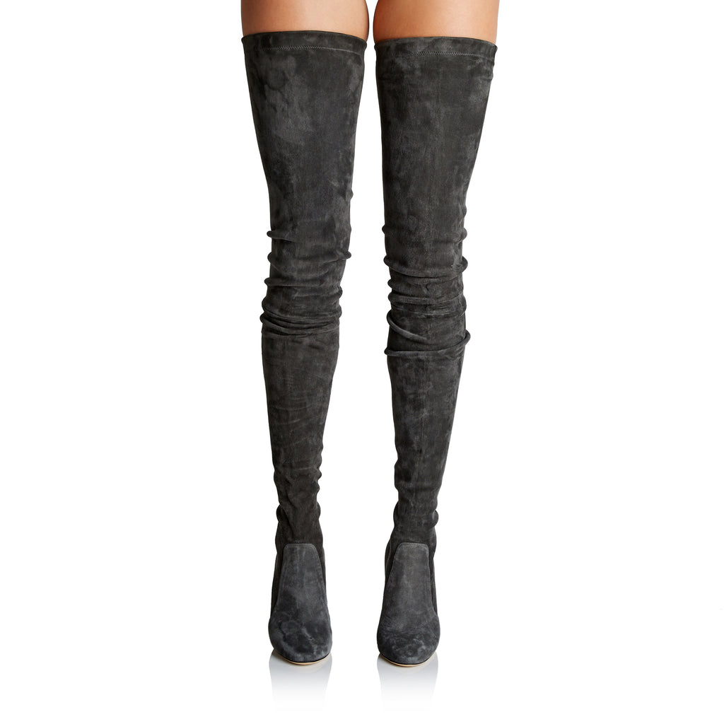 Tamara Mellon Helmut High-Heel Thigh-High Boots In Dark Grey