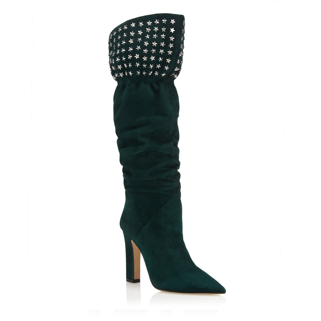 Tamara Mellon LUCENT EMERALD SUEDE OVER THE KNEE BOOTS