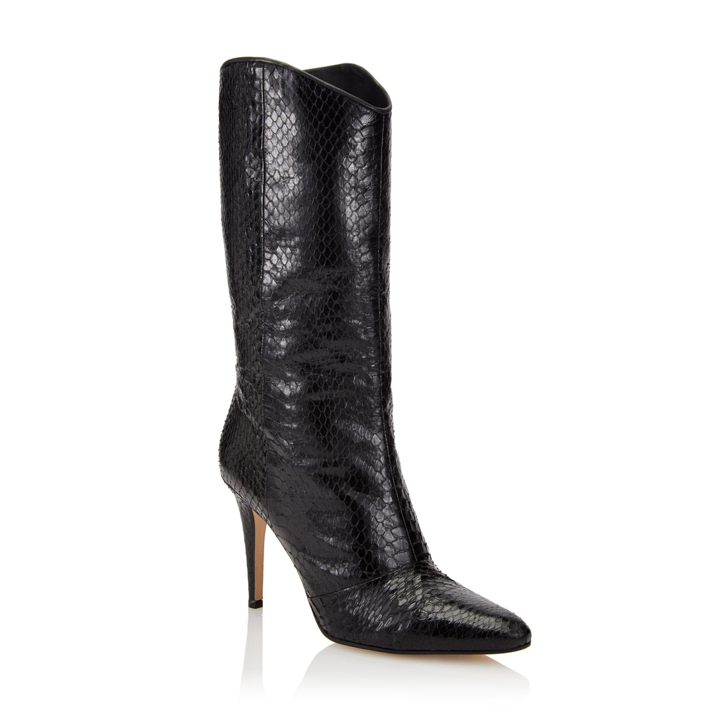 Tamara Mellon Phoenix Black Elaphe Knee High Boots, Size – 38.5