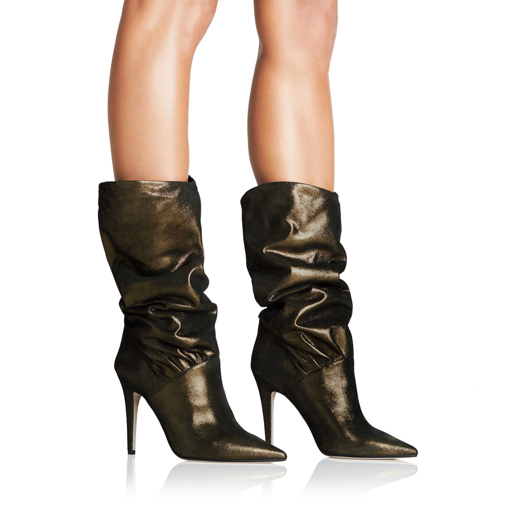 Plisse Black Metallic Suede Mid Calf Boots from Tamara Mellon